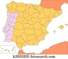 Portogallo Spagna Cartina.Portogallo E Spagna Politico Mappa Clipart K41426311 Fotosearch