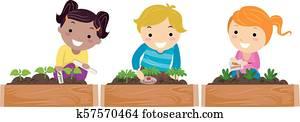 Stickman, kinder, kleingarten, markierungen, abbildung