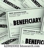 Beneficiary Word Checks Insurance Heir Recipient Money Inheritan