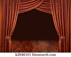 Copper red theatre courtains