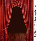 Crimson red theatre curtains