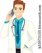 Man Doctor Call Mobile Illustration