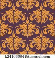 Orange flourish seamless background