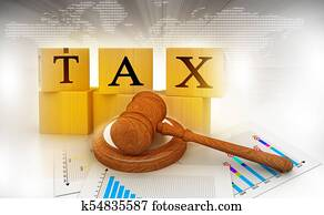 Tax with a gavel. tax court judgments