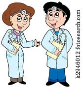 Two cartoon doctors