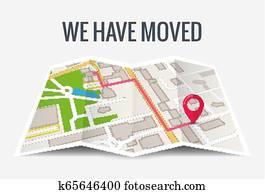 wir, haben, bewegt, neu, büro, symbol, location., adresse, bewegung, ?nderung, ort, ankündigung, geschaefts, eigenheim, landkarte