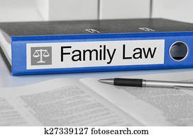 Blue folder with the label Family Law