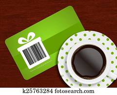 cup of coffee with spring discount coupon lying on table