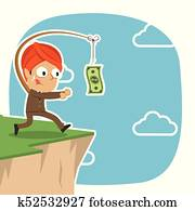 Indian businessman is chasing money on cliff
