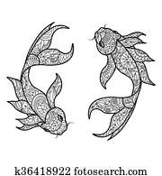 Clip Art Fischer Mit Fische Ausmalbilder Vektor K53372026