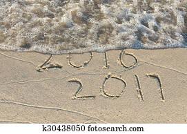 New Year 2017 on beach