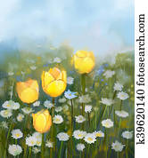 Oil painting field of yellow tulip and white daisy flowers