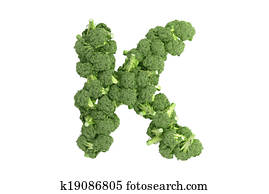 Broccoli letter K on white background
