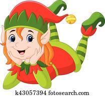 Cartoon elf girl laying on the floor