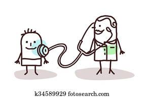cartoon pediatrician with child