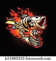 fische, skelett, gestein