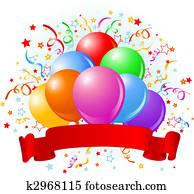 geburstag, luftballone, design