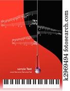 klavier, mit, mikrophon, und, druck, musik, mit, ort, für, text