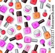 Nail polish bottles seamless pattern
