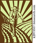 Farmer sowing seeds with sunburst done in retro woodcut style