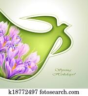 frühjahrsblumen, einladung, schablone