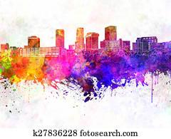Akron skyline in watercolor backgro