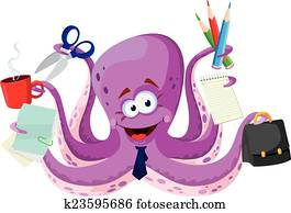 octopus with office supplies