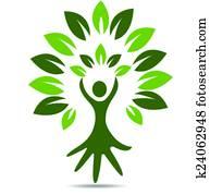 Tree people hand symbol logo