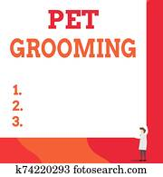 Writing note showing Pet Grooming. Business photo showcasing hygienic care and enhancing the appearance of the pets One man professor wear white coat red tie hold big board use two hands.