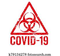 A red stamp on a white background - COVID-19