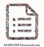 personengruppe, form, dokument