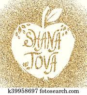 Rosh Hashanah greeting card with apple.