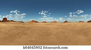 Spherical 360 degrees seamless panorama with a desert landscape