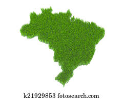 brasil nation map with grass