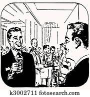 Cartoon retro vintage cocktail