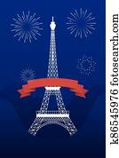 france eiffel tower ribbon and fireworks of happy bastille day vector design