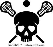 Lacrosse skull with crossed sticks