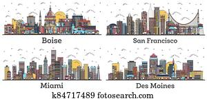Outline San Francisco California, Miami Florida, Des Moines Iowa and Boise Idaho City Skylines with Color Buildings Isolated on White.