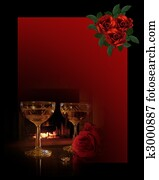 Romantic Background wine and roses