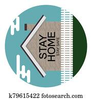 Stay Home. Stay Safe poster awareness social media campaign and coronavirus prevention. Vector Illustration