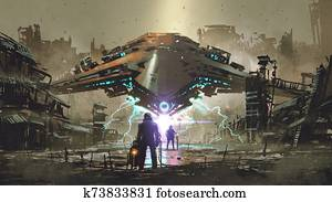 encounter between two futuristic humans