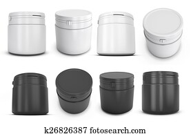 Set of template white and black plastic can for products