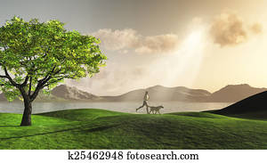 3D female jogging with her dog