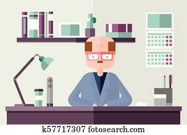 Bald accountant behind the table in office environment. Flat vector illustration.