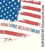 eigenheim, von, dass, frei, because, von, dass, brave., amerikaflagge, mit, weavy, effect., freigestellt, wei?, hintergrund, patriotisch, poster.