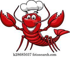 karikatur, rot, hummer, küchenchef, in, toque, kappe