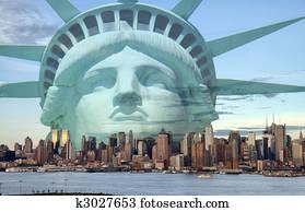 new york city skyline with statue liberty