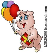 Pig with Gift