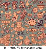 Tea, sweets seamless doodle pattern. Copy that square to the side and you'll get seamlessly tiling pattern which gives the resulting image the ability to be repeated or tiled without visible seams.