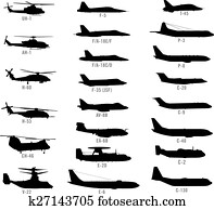 US Modern Military Aircraft Silhoue